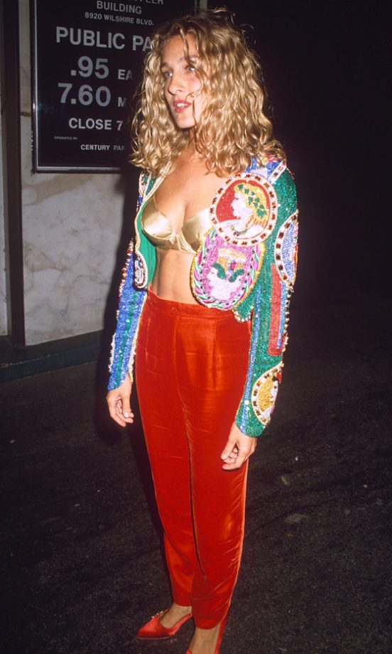 Sarah Jessica Parker Wearing Statement Red Trousers At The Boys Film Premiere In LA, 1991