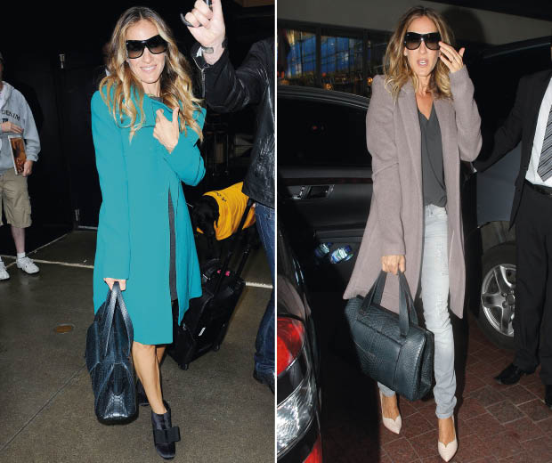 Sarah Jessica Parker wearing two amazing off-duty coats