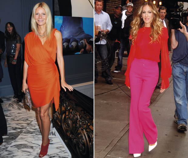Gwyneth Paltrow and Sarah Jessica Parker both wearing colour-block outfits