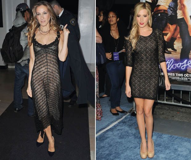 Sarah Jessica Parker wowed in a black lace dress at the Friends In Deed Anniversary benefit and Ashley Tisdale also rocked one at the Footloose premiere