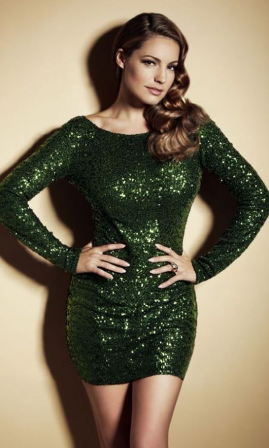 kelly brook wearing the emerald green sequin dress 3999 from new looks christmas party
