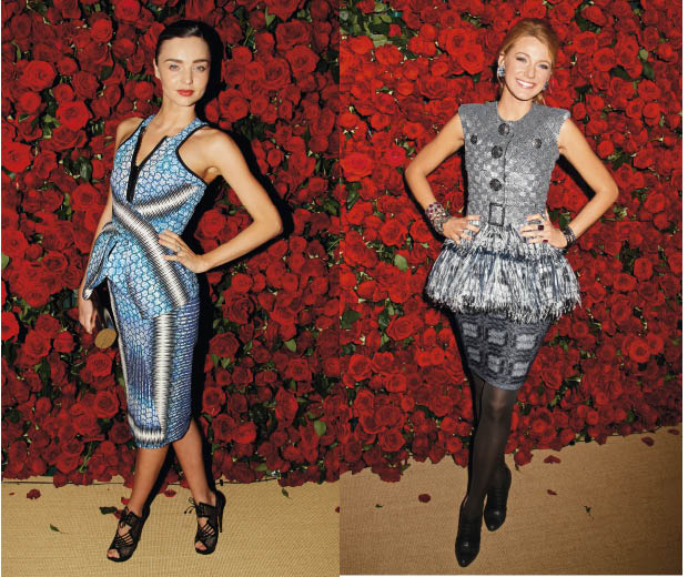 Miranda Kerr in Peter Pilotto and Blake Lively in Chanel on the red carpet at the Museum of Modern Art Film Benefit in New York