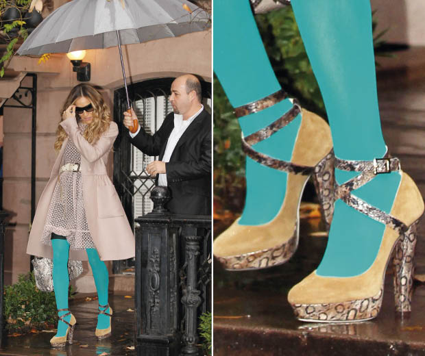 Sarah Jessica Parker had a Carrie Bradshaw fashion moment wearing bright blue tights, Valentino dress and Jimmy Choo heels out and about in New York