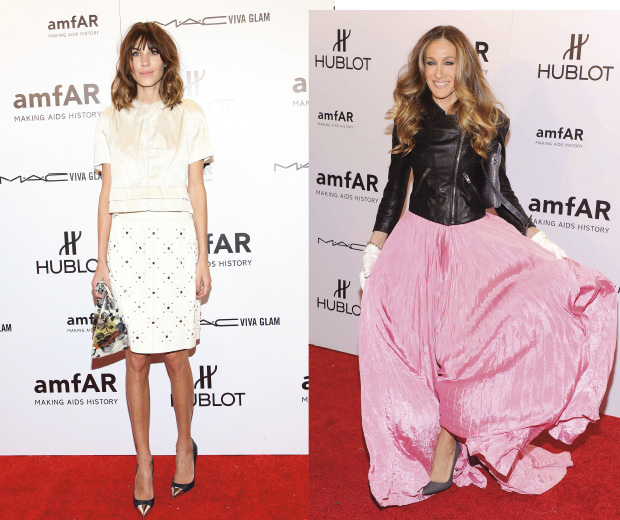 Alexa Chung and Sarah Jessica Parker wow at the 2012 AmFAR gala