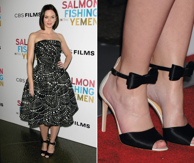 Emily Blunt wears a monochrome prom look on the red carpet at the Salmon Fishing In Yemen premiere in LA