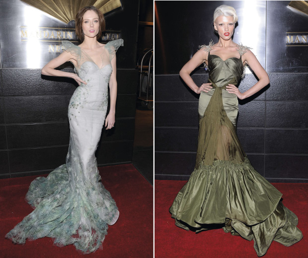 Coco Rocha and Crystal Renn wear dramatic Zac Posen gowns to an event in New York