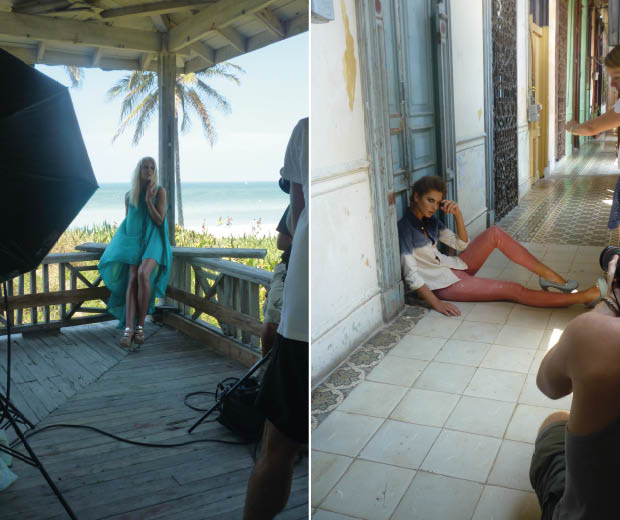 See behind-the-scenes pictures of LOOK's latest fashion shoots in Cuba
