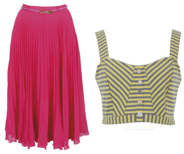 A pink skirt and striped bra top from Yumi's new collection, online now