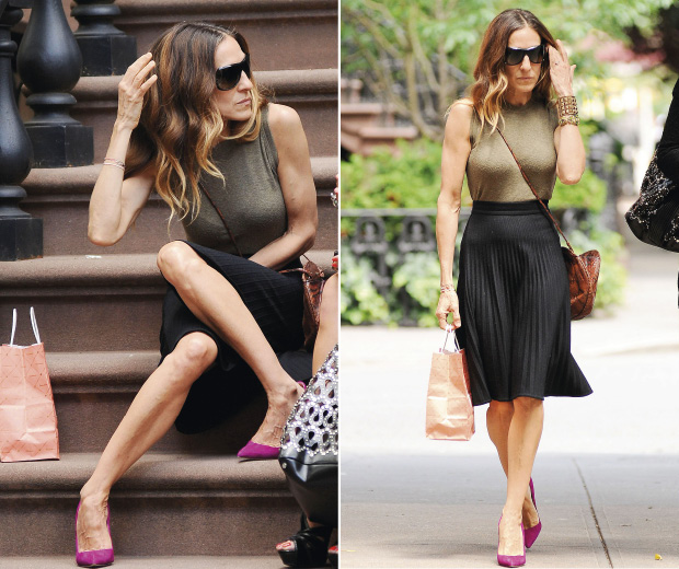Sarah Jessica Parker sat on SATC-style steps in New York
