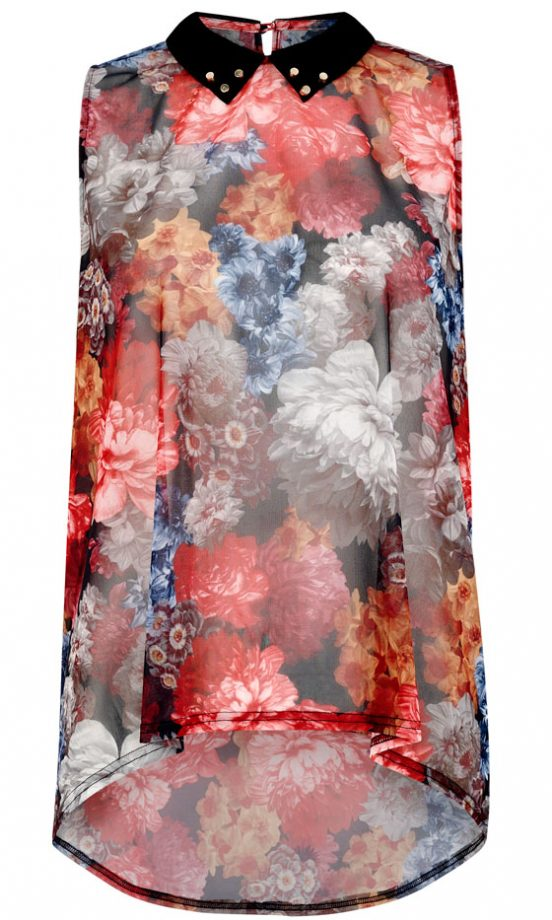 Primark AW12 Floral Blouse With Studded Collar