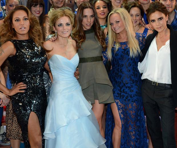 The Spice Girls Mel B, Gerri Halliwell, Mel C, Emma Bunton and Victoria Beckham pictured at the Viva Forever premiere