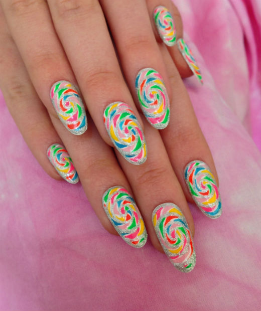 Easy Nail Art How-To: Candy Swirls | Look