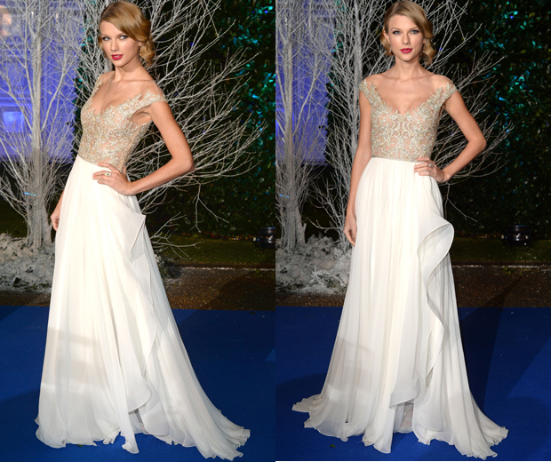 Taylor looks stunning at the Winter Whites gala event