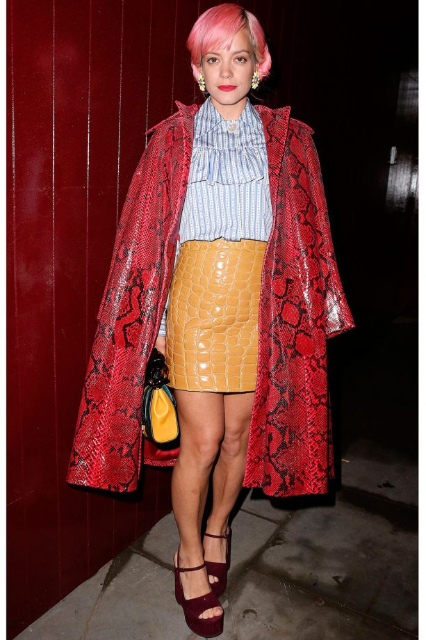 Lily Allen Rocks A Snakeskin Print Coat And Leather Mini Skirt At London Fashion Week, 2015