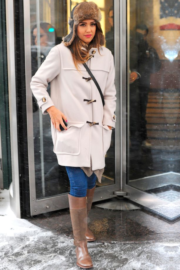 Jessica Alba Cosies Up In A Duffle Coat And Furry Trucker Hat Out In New York, 2014