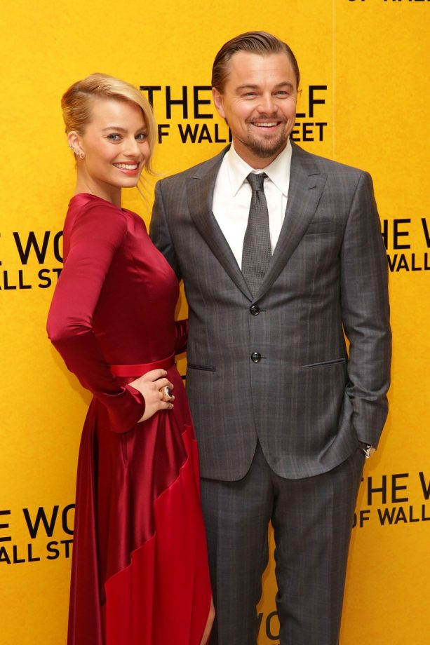 Margot Robbie And Leonardo DiCaprio Laughing Together At The Wolf Of Wall Street Premiere