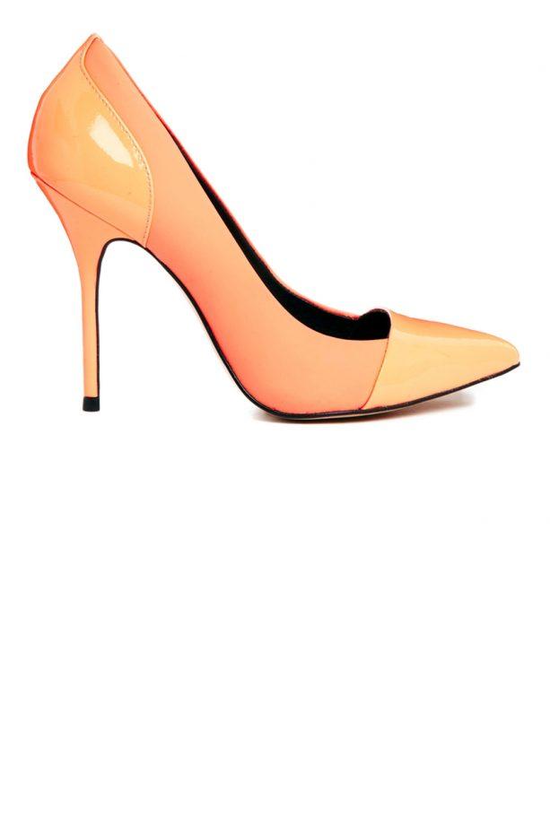 River Island Willow Toe Cap Orange Pointed Court Shoe, £50