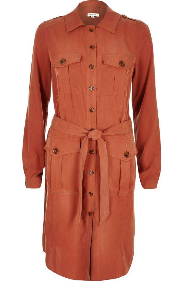 River Island Rust Military Shirt Dress, £60