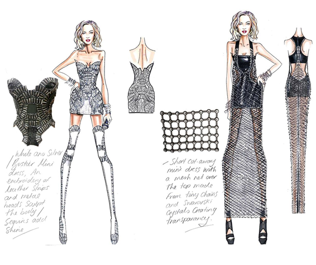 Beyonce's designer tour costumes are explained in detail via Versace's personal sketchs