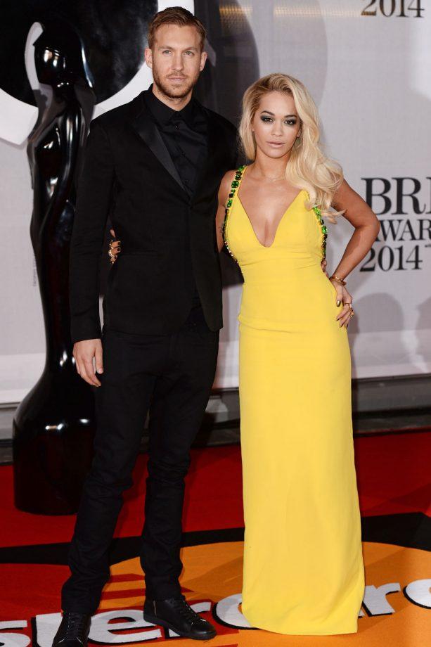 Rita Ora And Calvin Harris At The Brit Awards In London, 2014