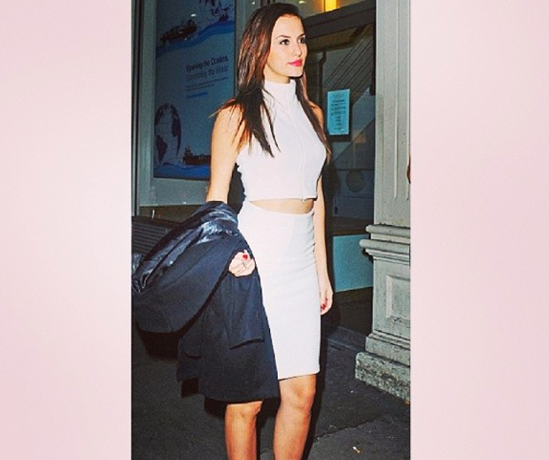 MIC's Lucy in her all-white AQAQ pencil skirt and cropped top combo