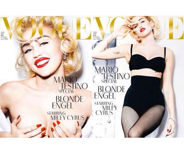Miley pays homage to her style icon Madonna for Vogue Germany