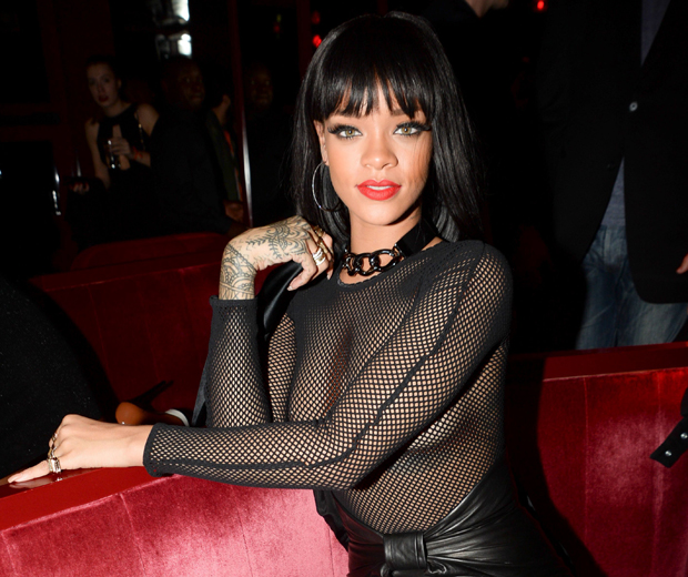 Rihanna in a risque mesh outfit at the Balmain after-party