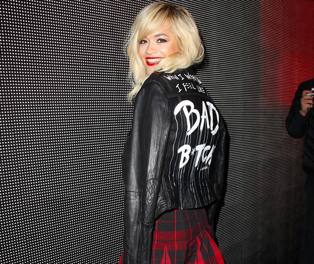 Rita worked tartan and leather for her fierce Fashion Week look