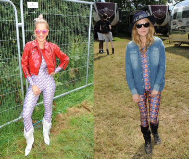Rita rocked her EKAT suit with a patent bomber, while Sienna opted for a denim shirt cover-up