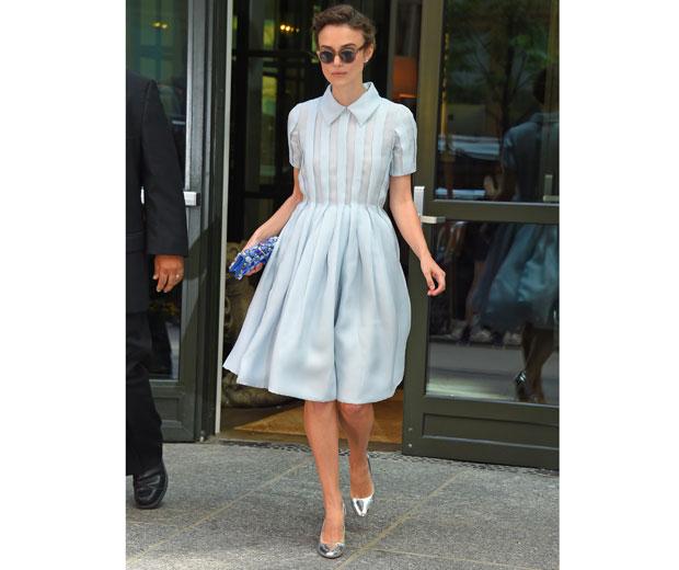 Keira Knightley wows in powder blue dress in NYC