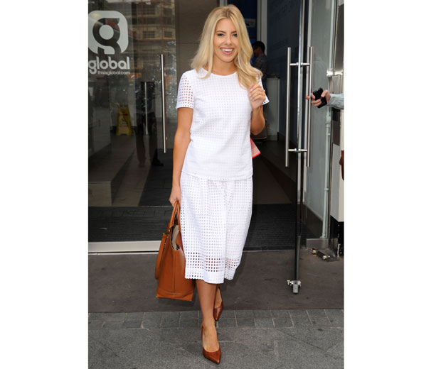 Mollie King looking chic in white-on-white Oasis outfit