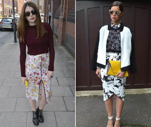 Our street stylers are loving printed pencil skirts