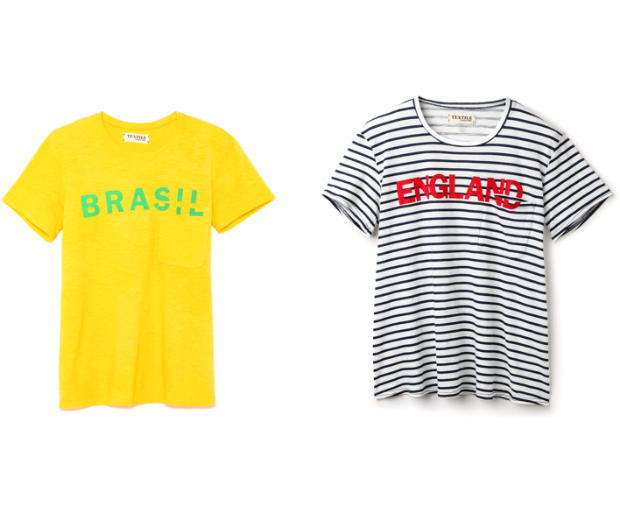 Make a chic statement in a striped England tee, or opt for the vivid hues of Brazil