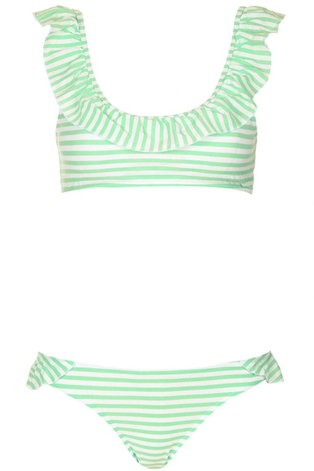 Topshop Apple Stripe Frill Crop Bikini, £32