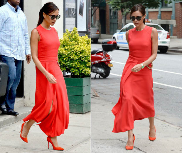Victoria Beckham goes bold in one of her own creations