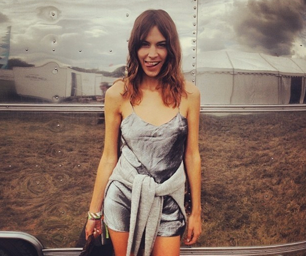 Alexa switched up her festival style rules and worked a silver metallic playsuit to Glastonbury