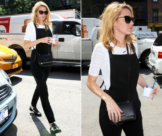 Blake swapped designer dresses for Rag & Bone's too-cool dungarees and mannish brogues