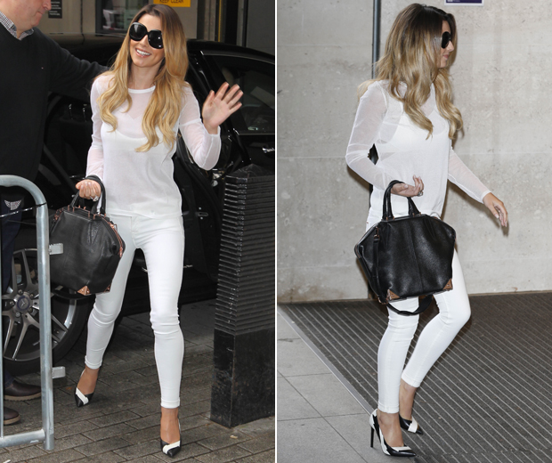 Cheryl's summer ready ensemble looked all-white to us