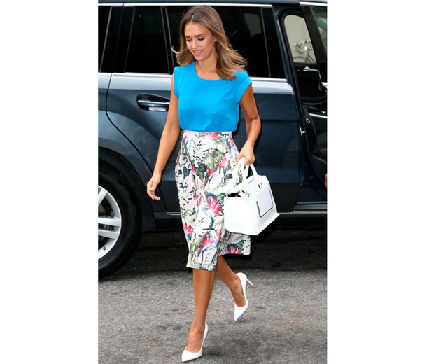 Jess looked summer-ready in her pretty Topshop midi