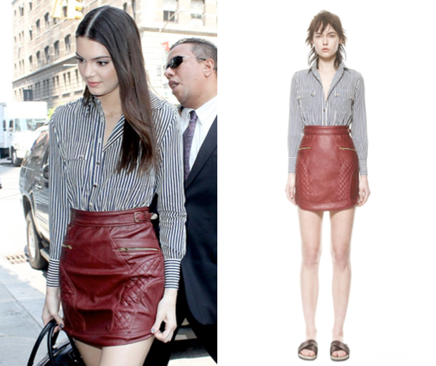 Kendall Jenner works an optical illusion shirt dress by Self Portrait