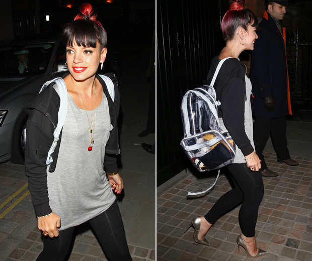 Lily switches up her clubbing arm candy by taking her LED rucksack for a night out