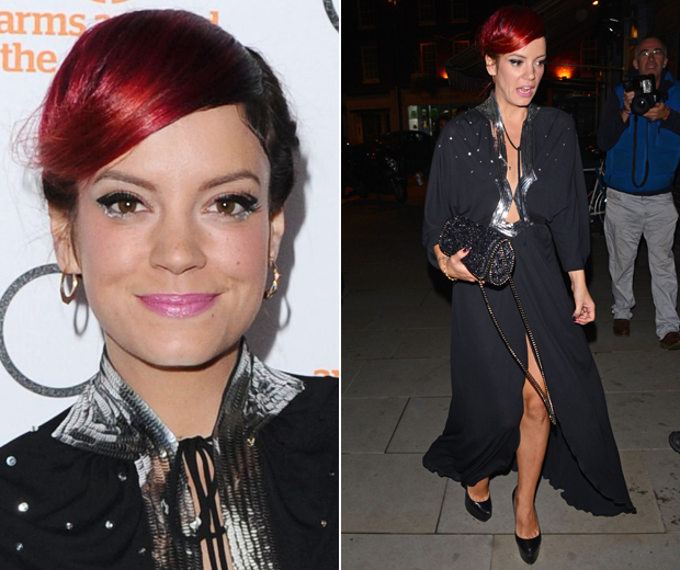 Lily debuted her vibrant new 'do at London's The Other Ball in Mayfair last night