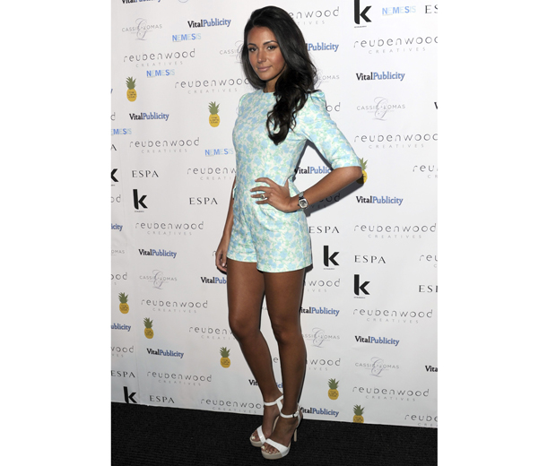 Michelle gives a nod to Valentino in her china doll print playsuit from Lavish Alice