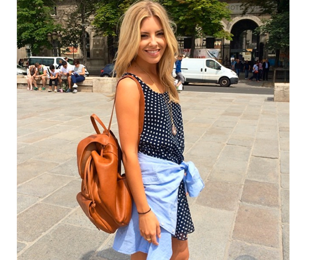 We love Mollie's cute polka dot frock and backpack combo