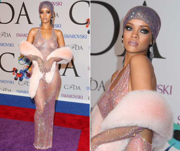 Rihanna worked a worked the red carpet in a sheer Swarovski crystal-clad fishnet dress which left little to the imagination