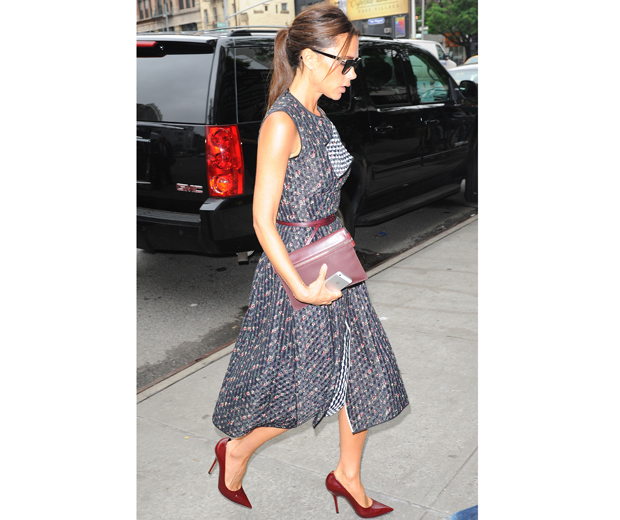 VB works this season's chicest new dress shape, the pleat 'n' flare