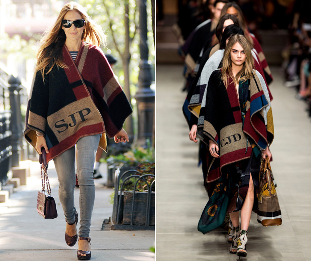 Sarah Jessica Parker in Burberry's personalised poncho