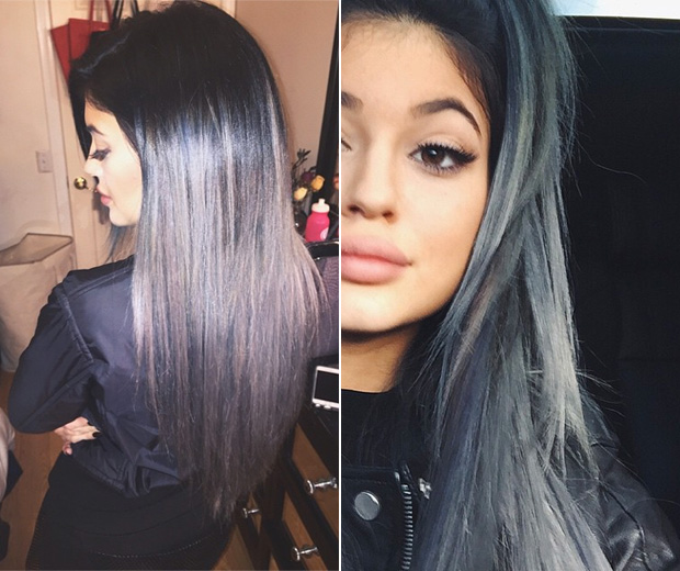 Kylie Jenner Goes Grey With Ombre Extensions Look