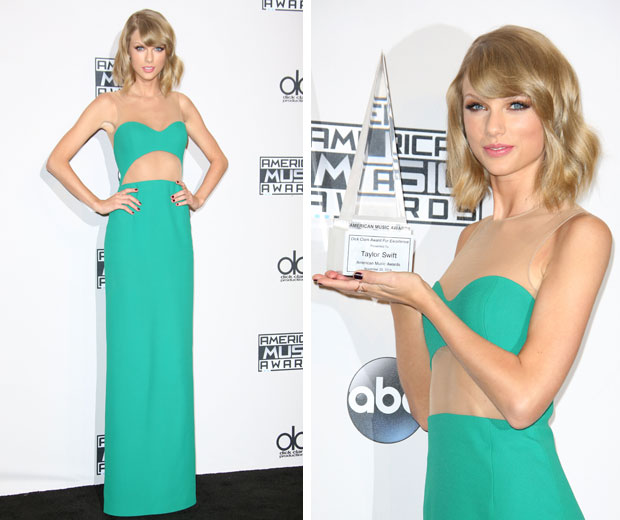 Taylor swift green dress pictures