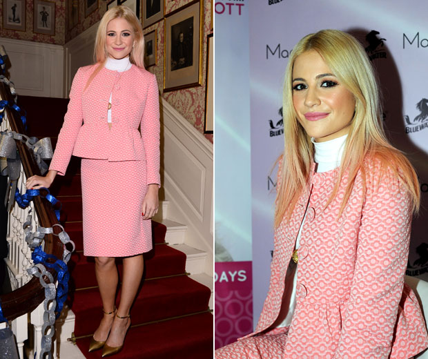 Pixie Lott stunning in a pink suit at Downing Street.